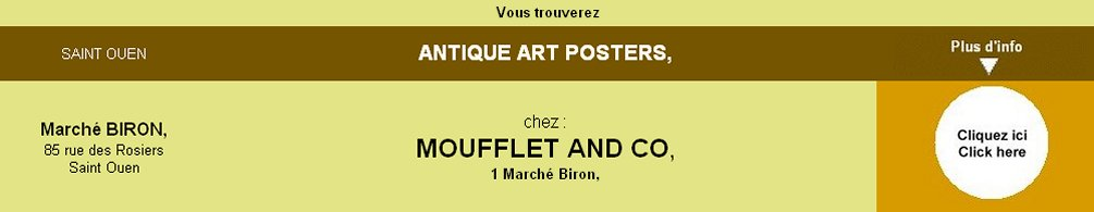 Antique Art Posters, Marché Bron, Saint Ouen, par Moufflet and Co,