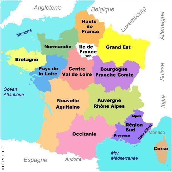 Carte de France, Carte de france des réigons,
