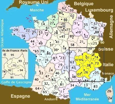 Carte Rhône Alpes, carte de localisation des antiquités, des