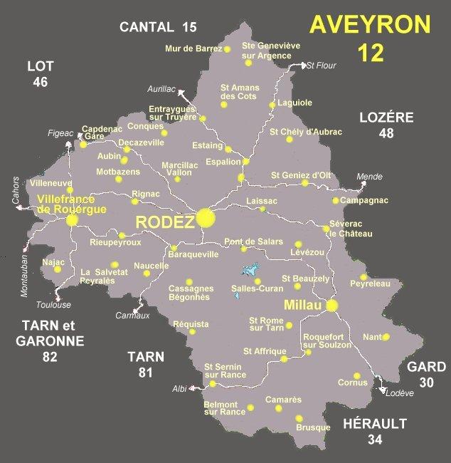 CARTE DE L'AVEYRON, 09, localités art antiquités région, Localités art, localités antiquités ...